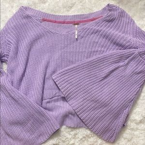 free people bell sleeve crop sweater